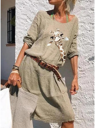 Animal Print 1/2 Sleeves A-line Knee Length Casual Dresses