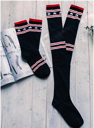 Striped/Geometric Breathable/Women's/Crew Socks/Calf Socks Socks (Set of 2 pairs)