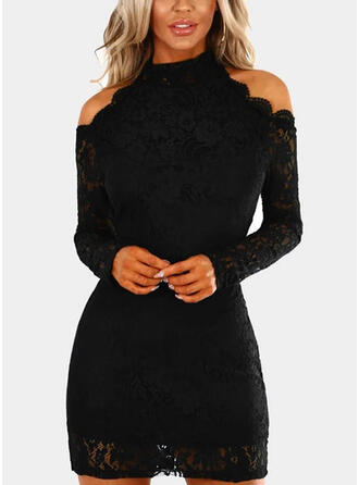 Lace/Solid Long Sleeves/Cold Shoulder Sleeve Bodycon Above Knee Little Black/Party Dresses