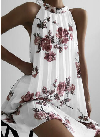 Print/Floral Sleeveless Shift Knee Length Casual Dresses