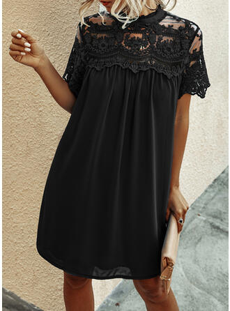 Lace/Solid Short Sleeves Shift Knee Length Little Black/Casual/Vacation Dresses
