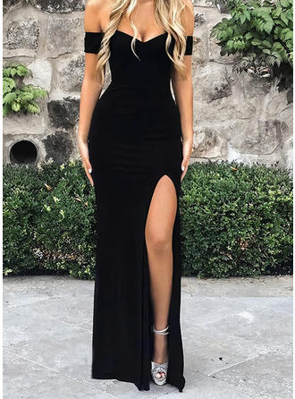 Solid Short Sleeves Sheath Little Black/Sexy/Party Maxi Dresses