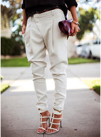 Pockets Shirred Plus Size Long Casual Elegant Solid Pants