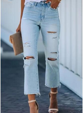 Pockets Shirred Plus Size midi Elegant Sexy Denim & Jeans