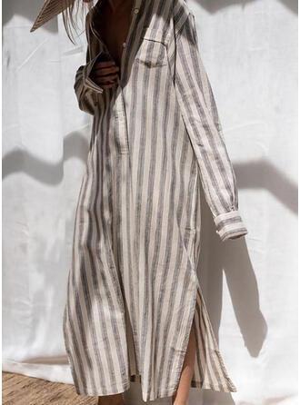 Striped Long Sleeves Shift Casual/Vacation Midi Dresses