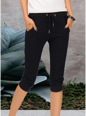 Pockets Shirred midi Casual Plain Pants