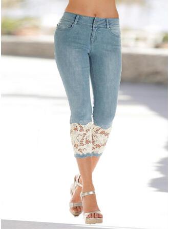 Patchwork Pockets Shirred Plus Size midi Elegant Sexy Lace Denim & Jeans
