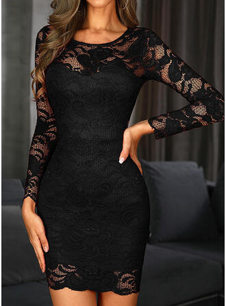 Lace/Solid Long Sleeves Bodycon Above Knee Little Black/Party/Elegant Dresses