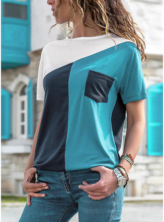 Color Block Round Neck Short Sleeves Casual Knit T-shirts