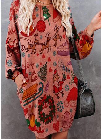 Animal Print Long Sleeves Shift Knee Length Christmas/Casual Sweatshirt Dresses
