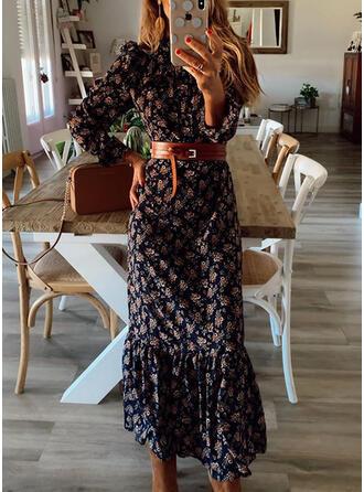Print Long Sleeves Sheath Casual Midi Dresses