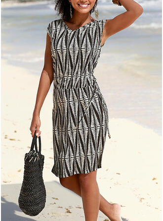Print Sleeveless Sheath Knee Length Casual/Vacation Dresses