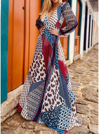 Patchwork Long Sleeves A-line Skater Boho/Vacation Maxi Dresses