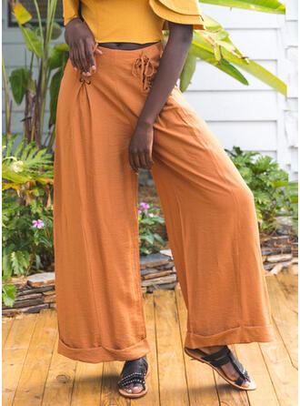 Solid Pockets Shirred Long Boho Casual Plain Pants