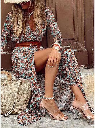 Print Long Sleeves Sheath Casual/Boho Maxi Dresses
