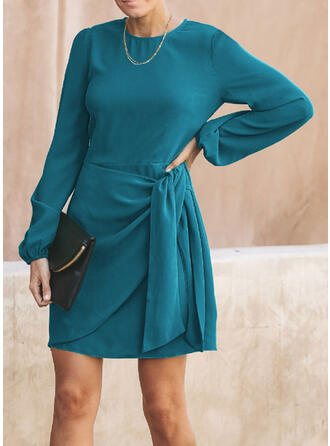 Solid Long Sleeves Sheath Above Knee Casual Dresses