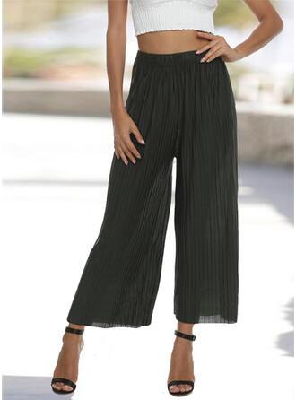 Pockets Shirred Plus Size midi Elegant Sexy Solid Plain Pants