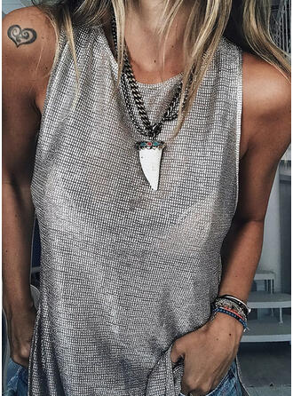 Sequins Round Neck Sleeveless Casual Tank Tops