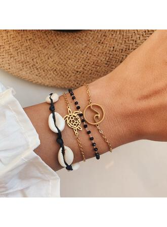 Wave Layered Alloy With Shell Tortoise Bracelets (Set of 4)