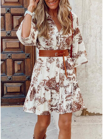 Print/Floral 3/4 Sleeves A-line Above Knee Casual Shirt Dresses