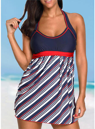 Stripe Splice color Strap Round Neck Sports Vintage Swimdresses Swimsuits