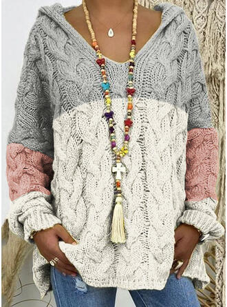 Color Block Cable-knit Chunky knit Hooded Casual Sweaters