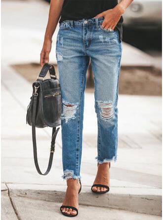 Jacquard Patchwork Pockets Shirred Plus Size Long Casual Sexy Jacquard Denim Pants Denim & Jeans