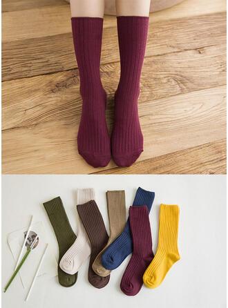 Solid Color Breathable/Crew Socks Socks
