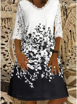 Lace/Print/Floral 3/4 Sleeves Shift Knee Length Casual/Vacation Dresses