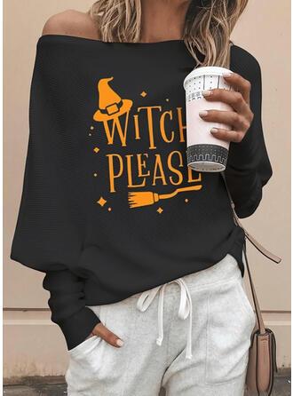 Print One-Shoulder Long Sleeves Casual Halloween Blouses