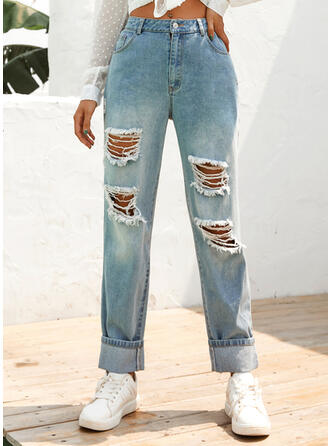 Pockets Shirred Long Casual Sporty Denim & Jeans