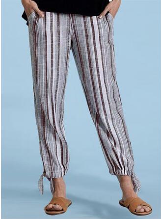 Striped Shirred Plus Size Long Casual Plain Pants