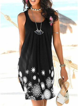 Print Strap Round Neck Vintage Casual Cover-ups Swimsuits