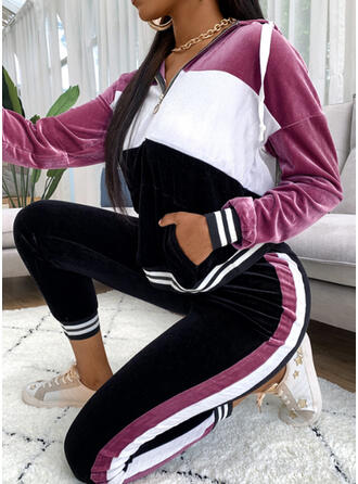 Patchwork Casual Sporty Stretchy Suits