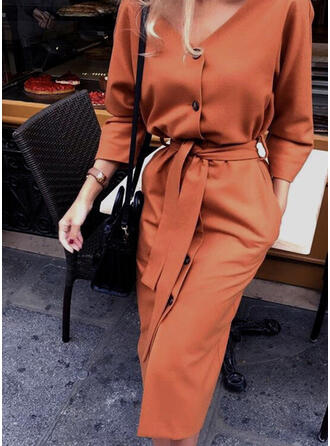 Solid 3/4 Sleeves Sheath Little Black/Casual Midi Dresses