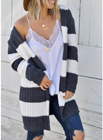 Polyester Long Sleeves Striped Cardigans
