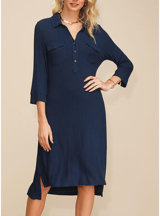 Solid 3/4 Sleeves Shift Asymmetrical Casual/Elegant Tunic Dresses