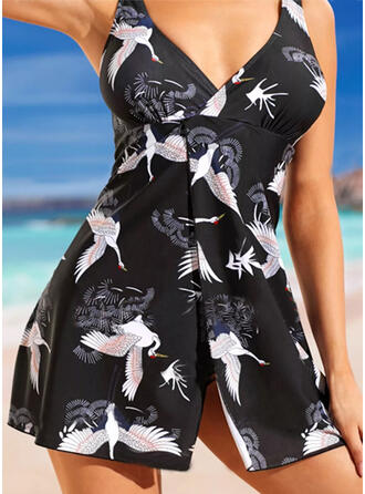Print Strap V-Neck Vintage Plus Size Swimdresses Swimsuits