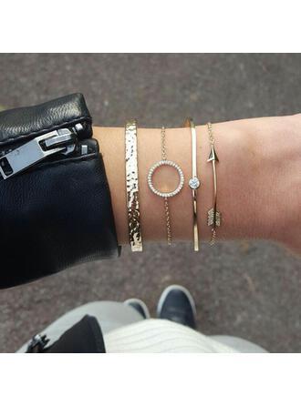Layered Alloy With Rhinestone Bracelets (Set of 4)