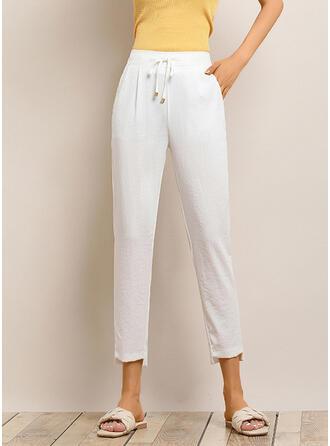 Shirred Plus Size Drawstring Capris Casual Plain Pants
