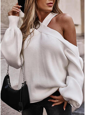Solid Cold Shoulder Sexy Sweaters