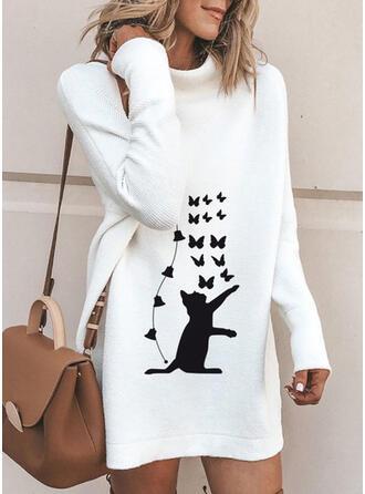 Animal Print Turtleneck Casual Long Sweater Dress