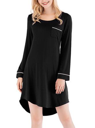 Modal Plain Patchwork Plus Size Round Neck Long Sleeves Pyjama Set
