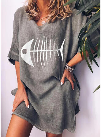 Animal Print 1/2 Sleeves Shift Above Knee Casual/Vacation Dresses