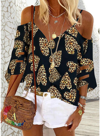 Print Leopard Cold Shoulder 3/4 Sleeves Casual Blouses