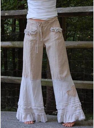 Pockets Shirred Plus Size Long Boho Long Tribal Pants