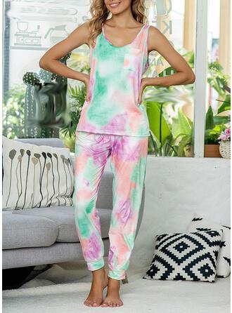 Polyester Spandex Print Sleeveless Round Neck Alluring Pyjama Set