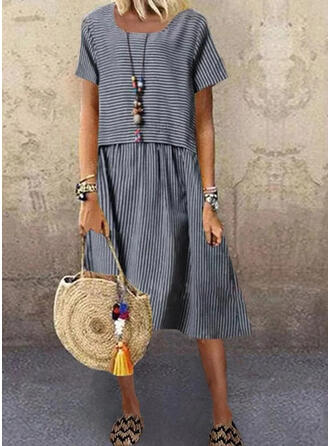 Striped Short Sleeves Shift Casual Midi Dresses
