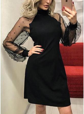 Solid Long Sleeves A-line Above Knee Vintage/Little Black/Casual/Party/Elegant Dresses
