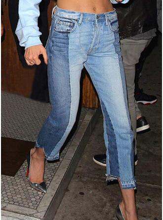 Solid Patchwork midi Casual Elegant Denim & Jeans